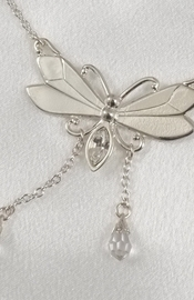 Silver Butterfly Waist Chain with Crystals