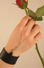 Silver Crescent Moon Bracelet and Finger Chain