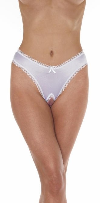 The Gamble - Sexy Satin Crotchless Thong Panty