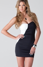 Verekova - Contrasting black and white tube dress