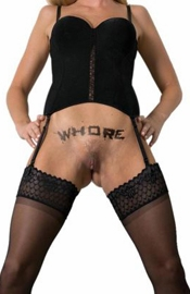WHORE temporary tattoo by KINK INK TATTOOS of Australia