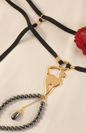 Women's Gold G-String With Cat & Hematite Charms