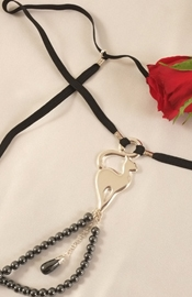 Women's Silver G-String With Cat & Hematite Charms