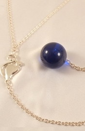 Women's Silver Waist Chain with Cat and Insertable Blue Orb