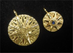 14K Gold Compass Rose Pendants with  working compass
