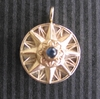 14K Gold Compass Rose Pendant with Sapphire