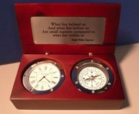 Compass Clock Silver with Emerson Quotes