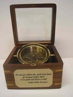 Executive Desk Compass, Wooden Box, CUSTOM ENGRAVED PLATE