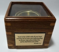Glass Top Engraved Desk Compass: Engraved Proverbs 3:5-6 Quote
