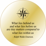 Solid Brass Engraved  Pocket  Compass: Emerson Quote WLB