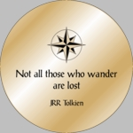 Solid Brass Engraved Pocket Compass: JRR Tolkien