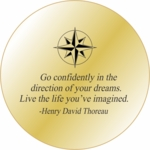 Solid Brass Engraved Pocket  Compass: Thoreau Quote