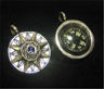Sterling Silver Compass Rose Pendant with Iolite Cabochon