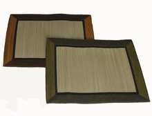 Altar Mat or Place Mat - Silk Trim Woven Tatami - Reversible: One each reversible Burgandy/Purple or Olive/gold Left in Stock