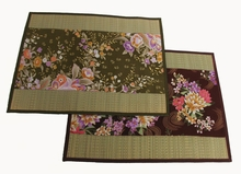 Altar Mat or Place Mat -  Tatami w/Japanese Kimono Silk Floral Print Accent