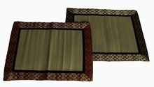 "Altar Mat or Place Mat - Tatami w/Silk ""Jewel"" Brocade Trim - Reversible"