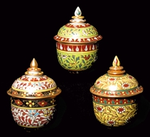 "Benjarong Porcelain Covered Jars - Classic Shape With Raised ""Jewel"" Designs"