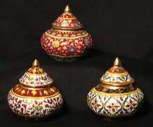 Benjarong Porcelain Covered Jars - Traditional Shape Raised Designs