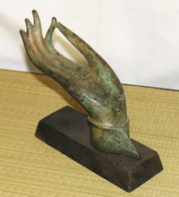 "Bronze Buddha Hand - Antique Reproduction in the ""Vitarka Mudra"" (Teaching)"