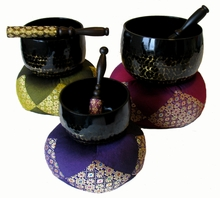 Gong Bowl Sets - Hammered Brass - Black Lacqure