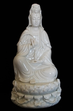 "Kuan Yin Statue - 13.75"" Porcelain Holding Willow Branch / OUT OF STOCK"