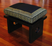 Meditation Bench & Cushion Set - Black/Gold Brocade