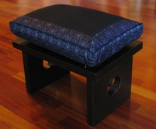 Meditation Bench & Cushion Set - Black/Gray Ikat Print