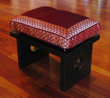Meditation Bench & Cushion Set - Burgundy Brocade