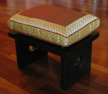 Meditation Bench & Cushion Set - Saffron Brocade