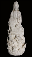 "Quan Yin Statue  -  Porcelain  - 14""  With Nine Dragon"