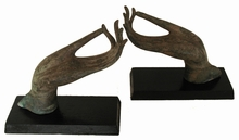 Small Bronze Buddha Hands - Pair of Antique Reproductions Mounted  On Wood Base