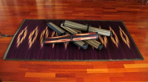 Tatami Roll-Up Meditation or Beach Mat - Hand-Dyed & Woven w/Tie Straps