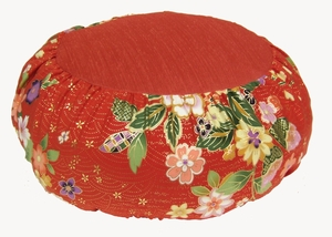 Zafu Meditation Cushion - Round Japanese Silk  Print - Red Floral