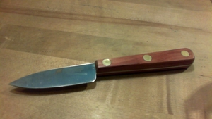 "CLAM KNIFE ROSEWOOD HANDLE BRASS RIVETS 3"" BLADE"
