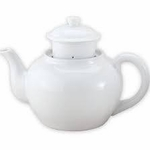 TEA POT W/INFUSER 46 OZ WHITE