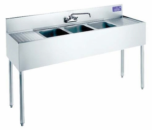 "Welded Bar Sinks w/ 2 Drainboards 48""x18 ½""x32 ¾"""