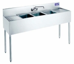 "Welded Bar Sinks w/ 2 Drainboards 48""x18 �""x32 �"""