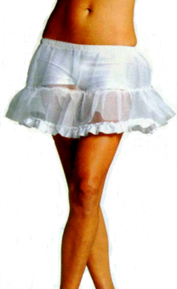 "15"" White Petticoat With Lace Trim"