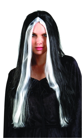"24"" Witch Wig W/Grey Stripes"