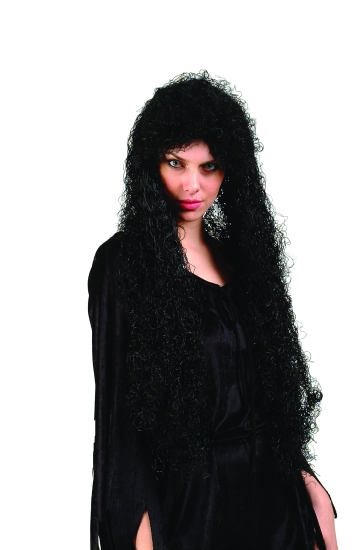 "30"" Curly Black Wig"