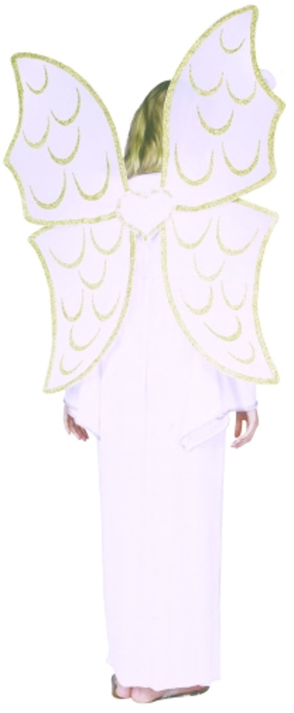 "36"" Giant White Angel Wings With Gold Imprint"