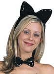 Black Sequined Cat Ears