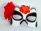 Day of the Dead 1/2 Mask w/Flower