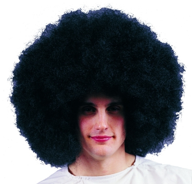 "Giant 18"" Black Bushy Wig"