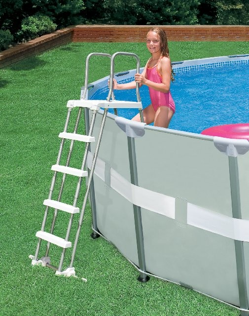 "Intex  42"" Pool Ladder (Silver and White)"