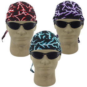 Lightning Bolts Skull Caps