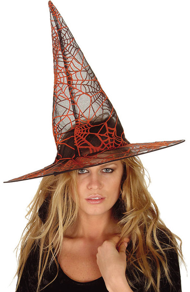"Orange Glitter Witch Hat 14""X13"""