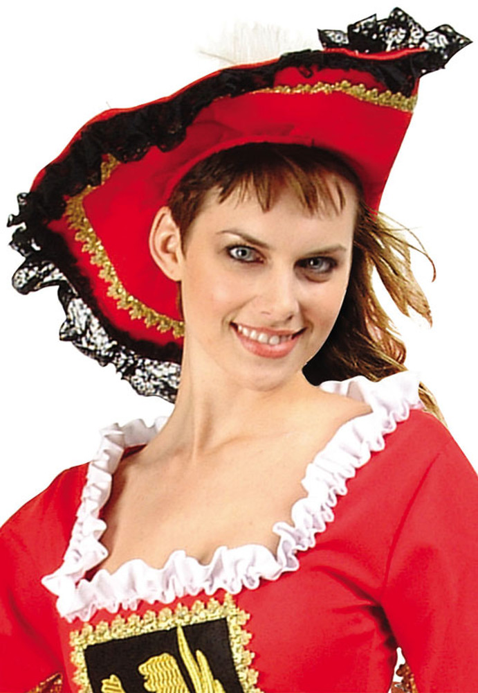 Red Musketeer Pirate Hat With Lace