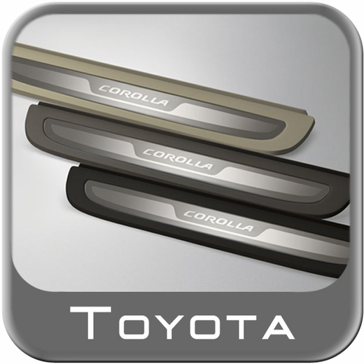 """2009-2013 Toyota Corolla Door Sill Protectors Stainless Steel w/etched """"Corolla"""" logo w/Dark Gray Surround 4 Piece Set Genuine Toyota #PT922-02080-11"""