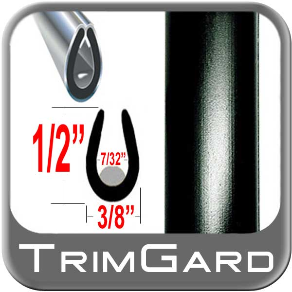 "Trim Gard® Black Door Edge Guard ""U"" Style #22L-01 1/2"" x 3/8"""